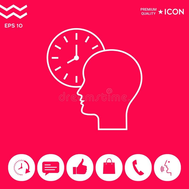 Programme personnel, la gestion du temps, personne avec la montre - rayez l'icône illustration stock
