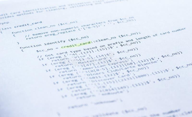 Programmeertaalphp op papier stock afbeelding