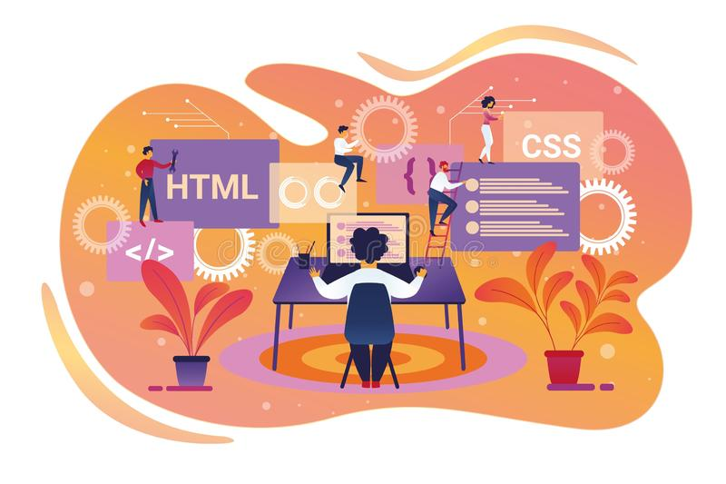 Programmer Character Working on Laptop. Teamwork stock illustration