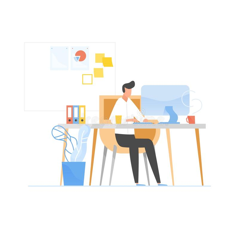 Programmer or coder sitting at desk and working on computer. Work in software development and testing, programming or. Program coding. Office worker or employee vector illustration