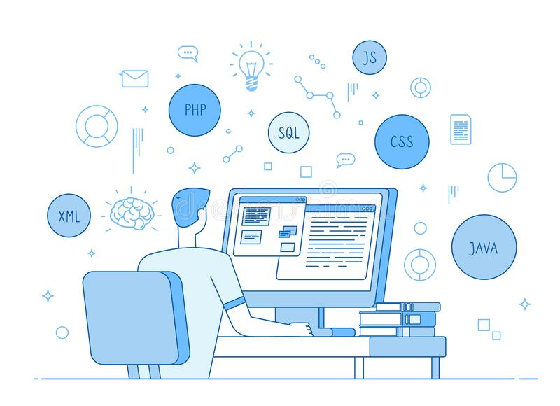 Programmer coding website. Coder web designer works on javascript, php code programming language. Software development royalty free illustration
