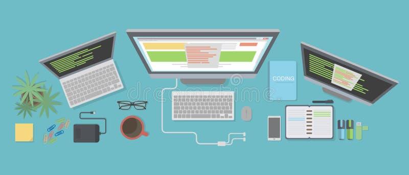 Programmer desk mockup. stock illustration
