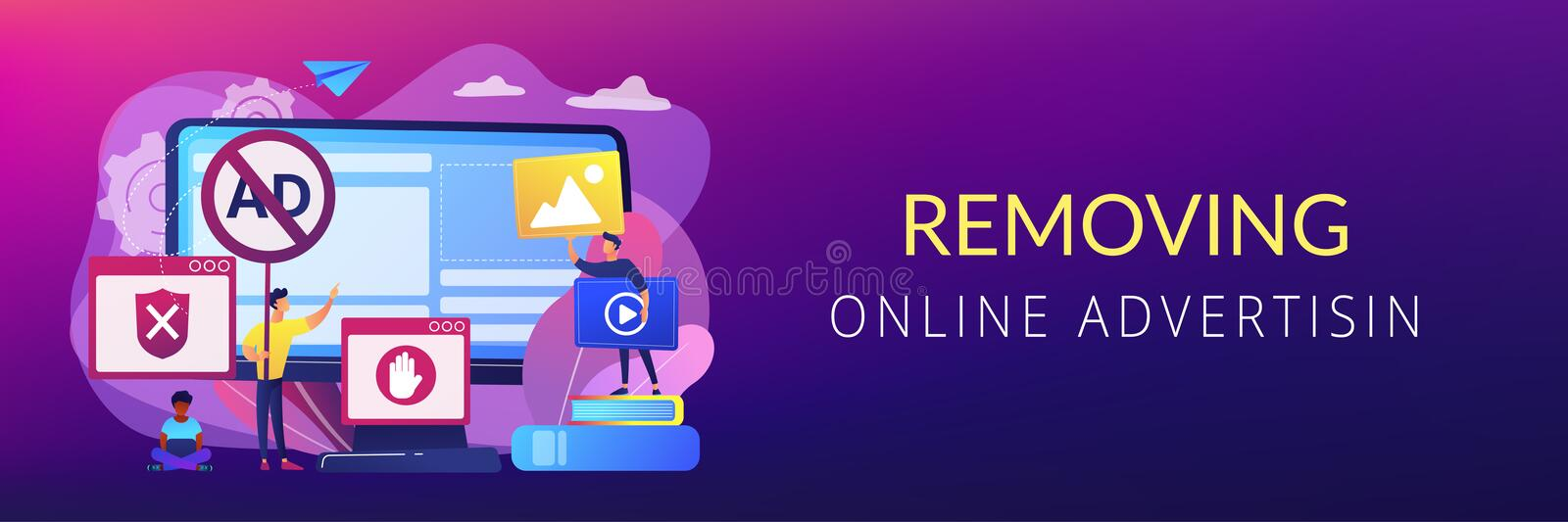 Ad blocking software concept banner header. Programmer developing anti virus program. Banned Internet content. Ad blocking software, removing online advertising royalty free illustration