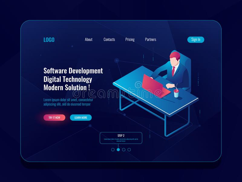 Programmer and engineering development isometric icon, man sitting at a table, software developt, dark neon vector royalty free illustration
