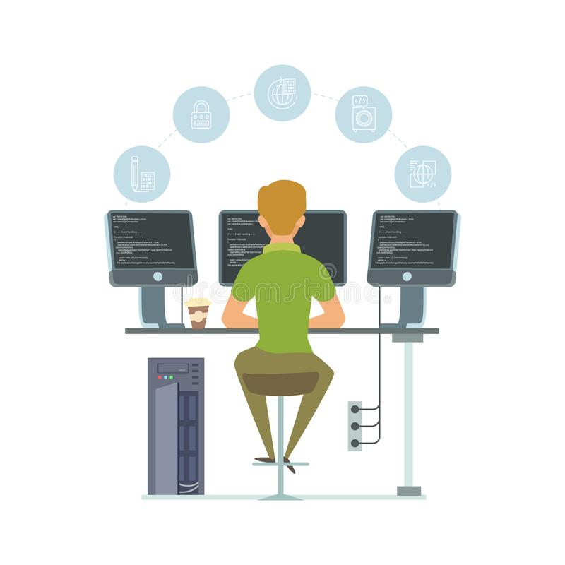 Programmer, information technology worker vector illustration. Programming icons and software developer isolated on. White background. Business programming royalty free illustration