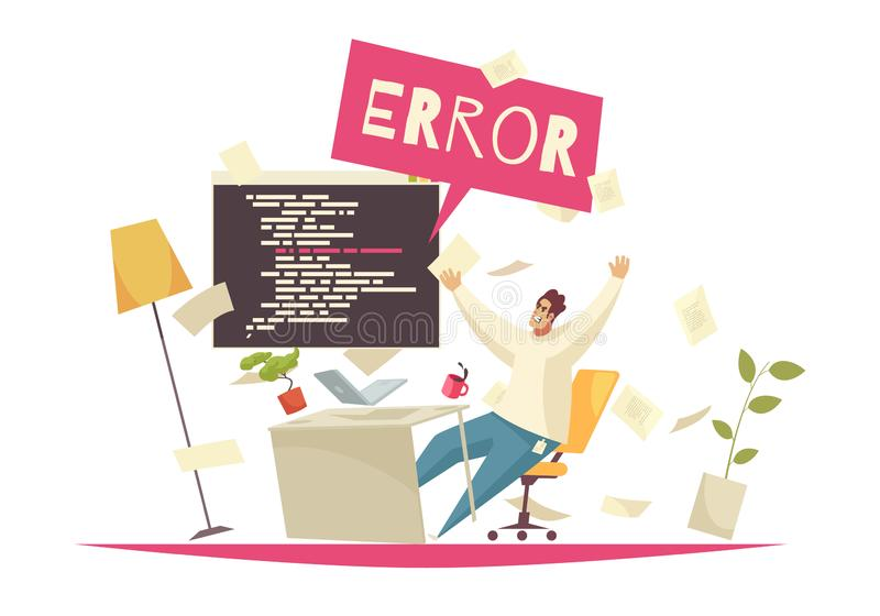 Programmer Office Concept. With error searching symbols flat vector illustration royalty free illustration