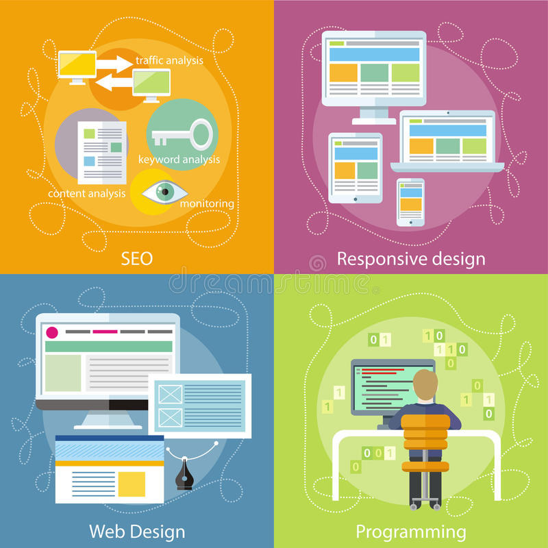 Programmer, SEO and Responsive Web Design. Computer programmer sitting in chair in front of computer at table and programming. Web design concept. SEO royalty free illustration