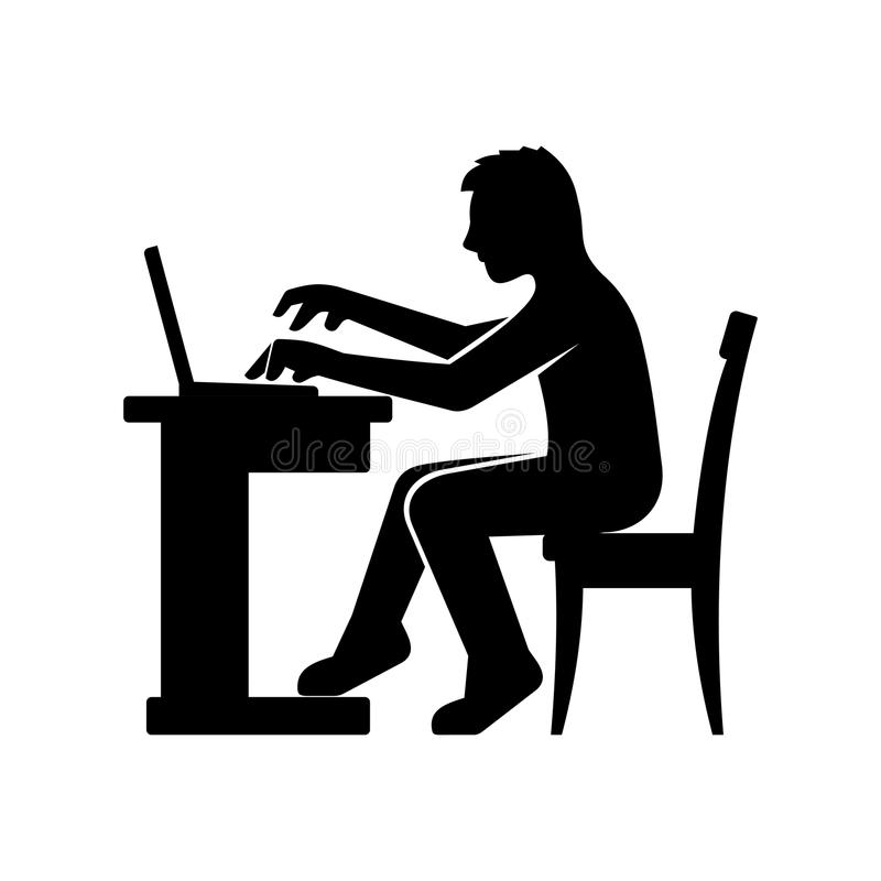 Programmer Silhouette Working On His Computer Stock