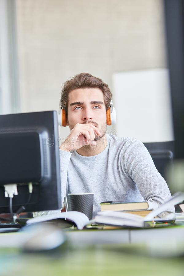 Programmer thinks about problem royalty free stock photography