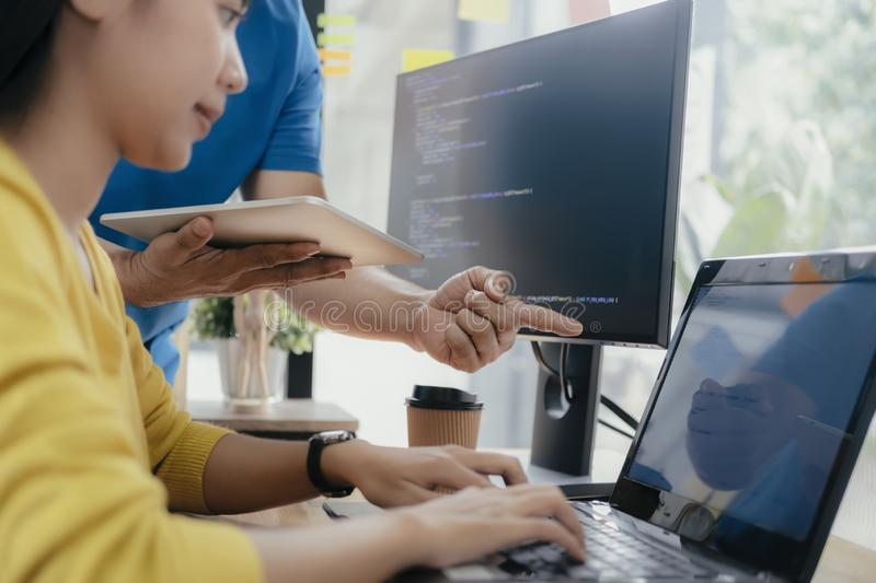 UX UI and Programming development technology. Programmer and UX UI designer working in a software development and coding technologies. Mobile and website design stock photos