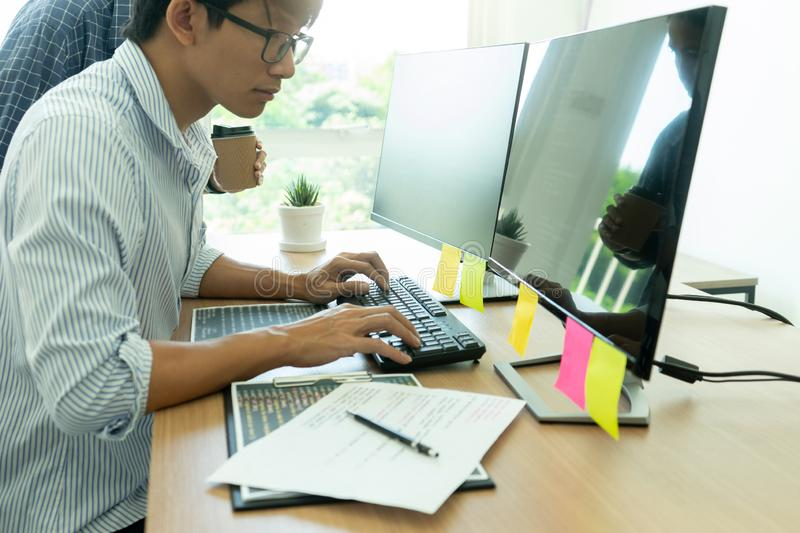 programmer work with Developing programming royalty free stock image