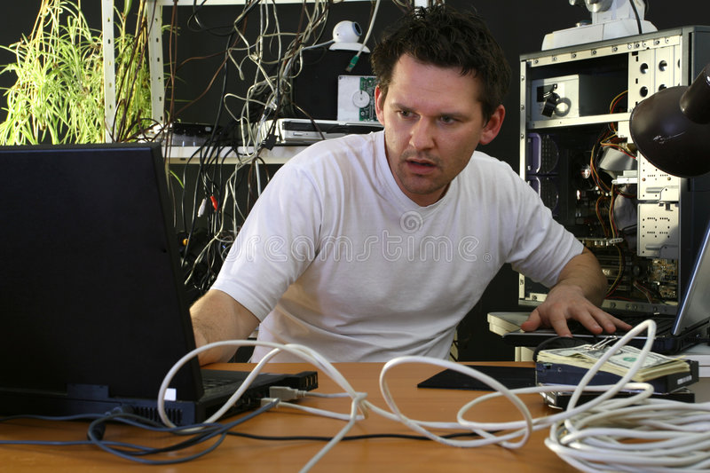 Download Programmer Working On Both Computers Stock Image - Image of hacker, data: 9041081