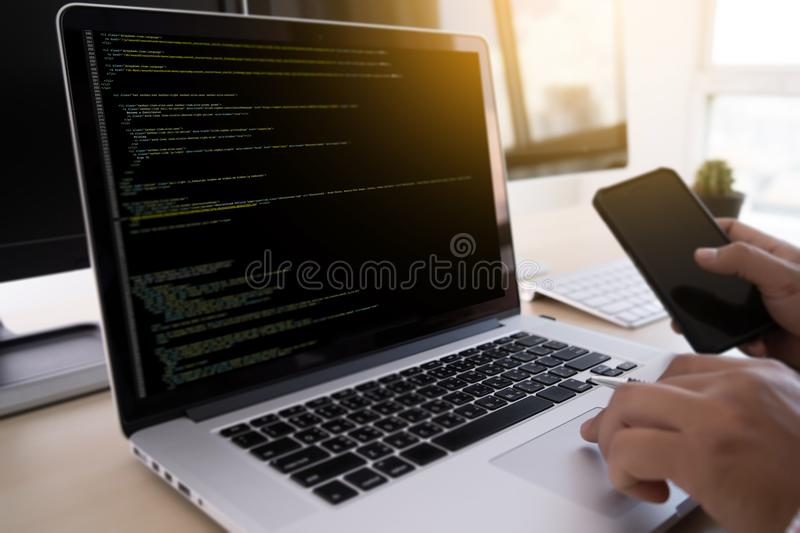 Programmer working Developing programming technologies Web Design Online Technology royalty free stock photo