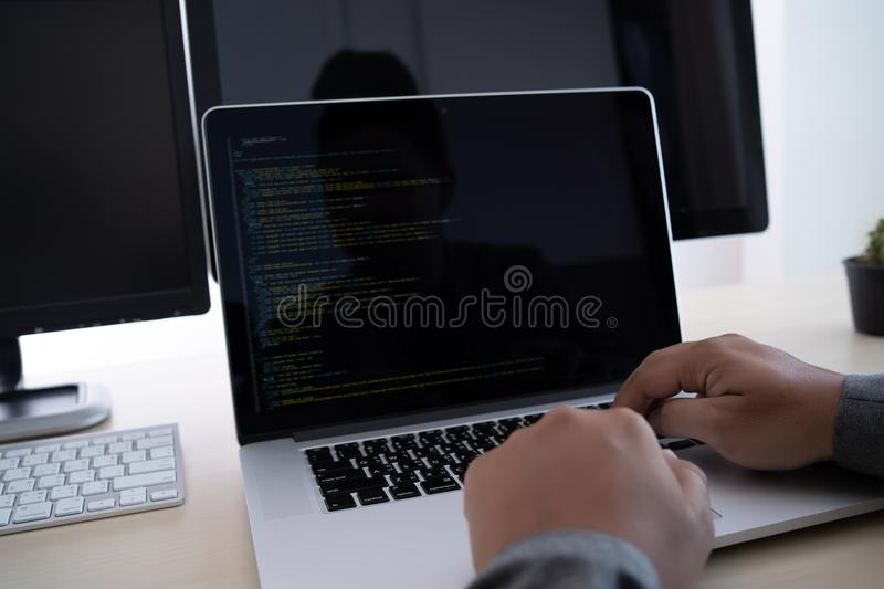 Programmer working Developing programming technologies Web Design Online Technology royalty free stock photography