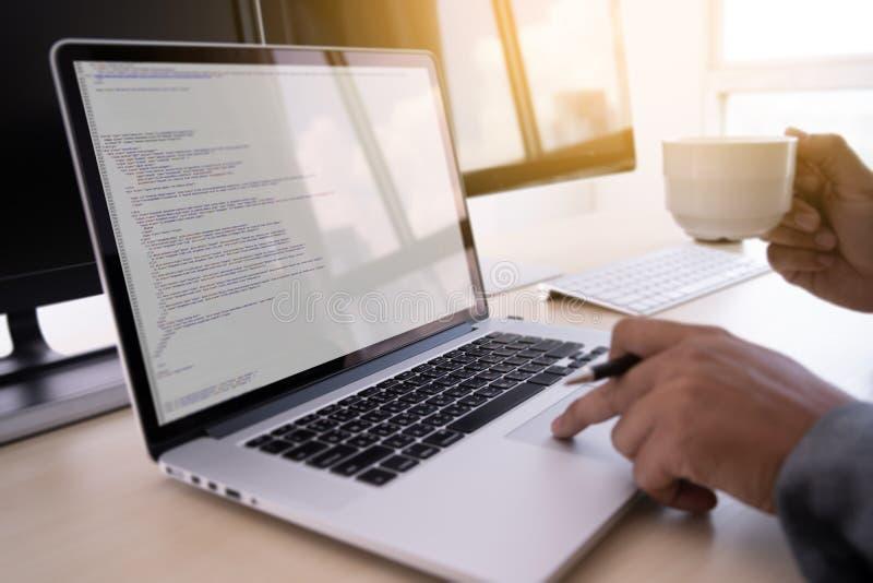 Programmer working Developing programming technologies Web Design Online Technology royalty free stock photos