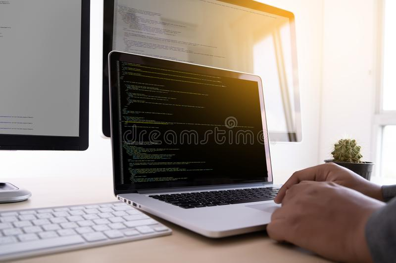 Programmer working Developing programming technologies Web Design Online Technology stock image