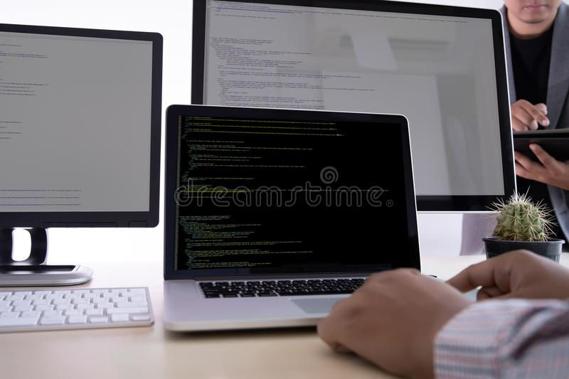 Programmer working Developing programming technologies Web Design Online Technology royalty free stock image