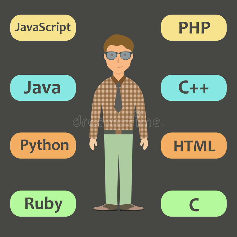 Programmer working with modern programming language vector illustration