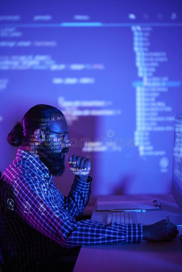 Programmer working with new software royalty free stock photography