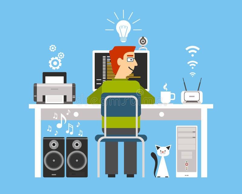 Programmer On Workplace Concept vector illustration