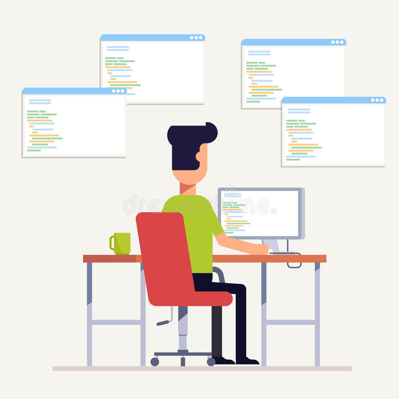 The programmer writes code on the computer. Multi-specialist. The man at the workplace. Back view. Vector, illustration. EPS10 royalty free illustration