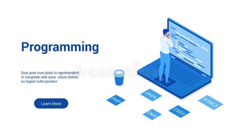 Programmera den blåa mallen stock illustrationer