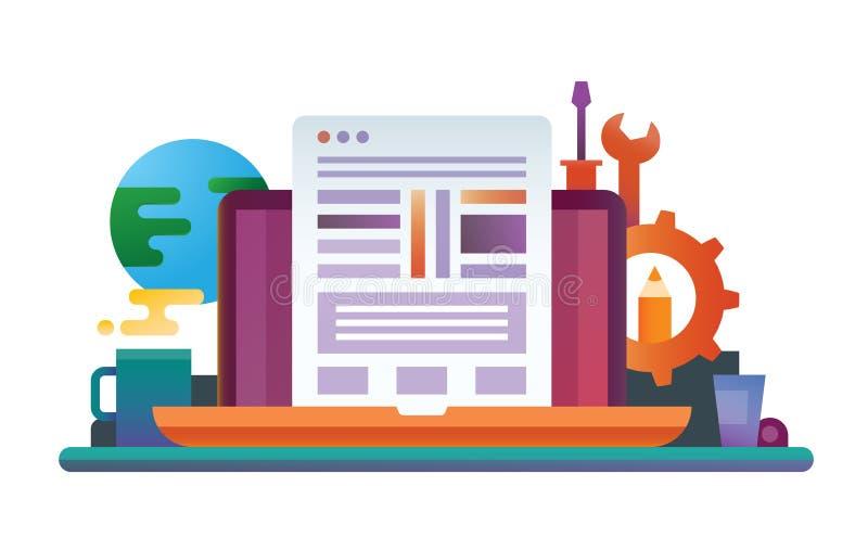 Programmera hjälpmedel - plant designwebsitebaner vektor illustrationer