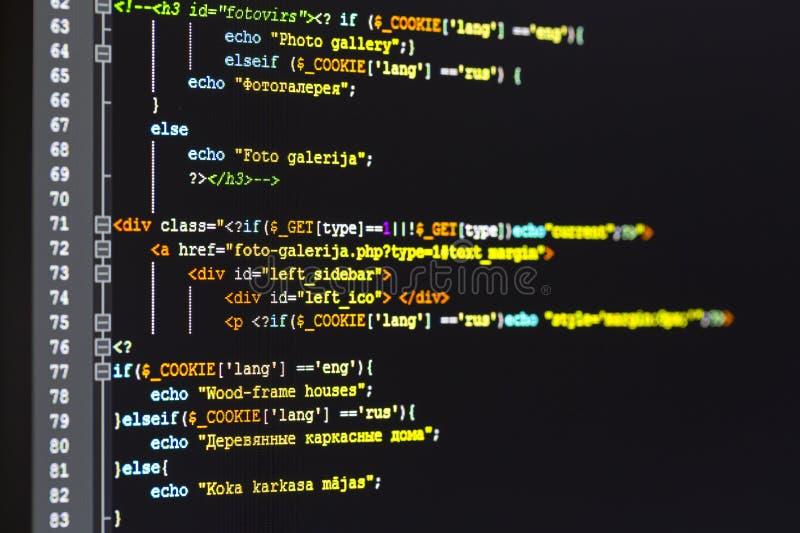 Programmera kod på datorskärmen royaltyfri foto