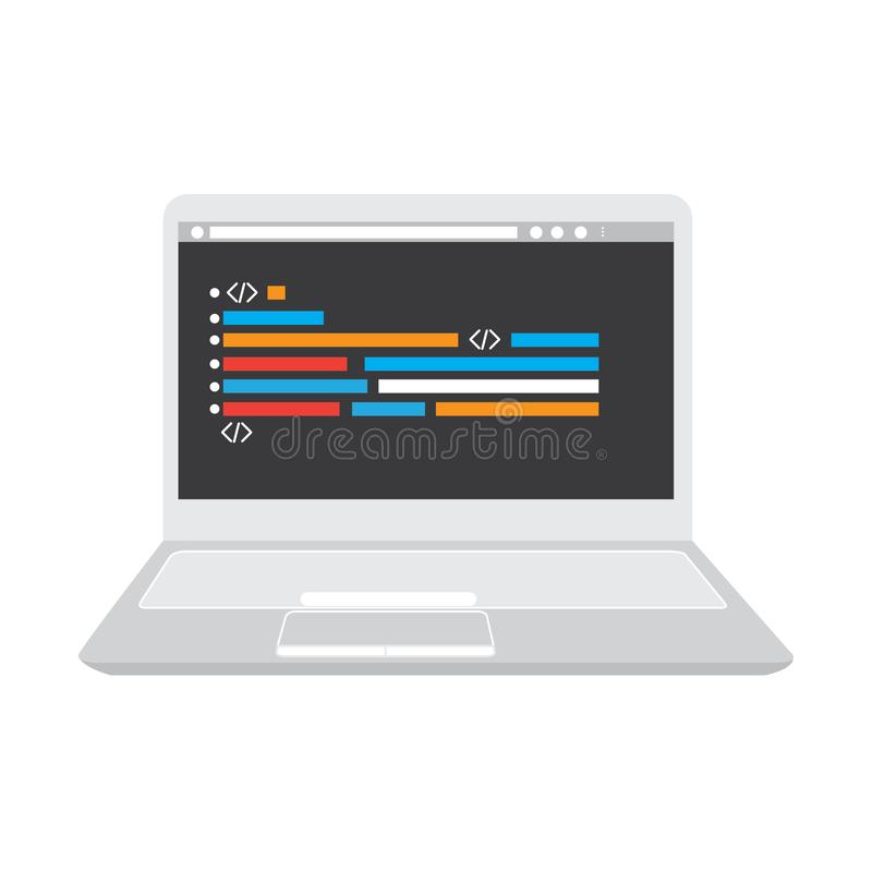 Programmera kod p? en b?rbar datorsymbol vektor illustrationer