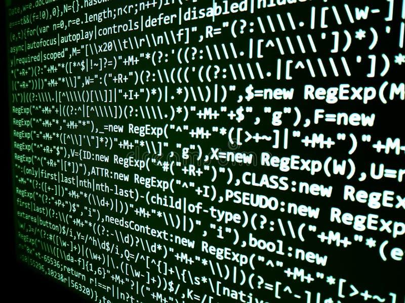 Programmera kodabstrakt begreppskärmen av programvarubärare Dator royaltyfri fotografi