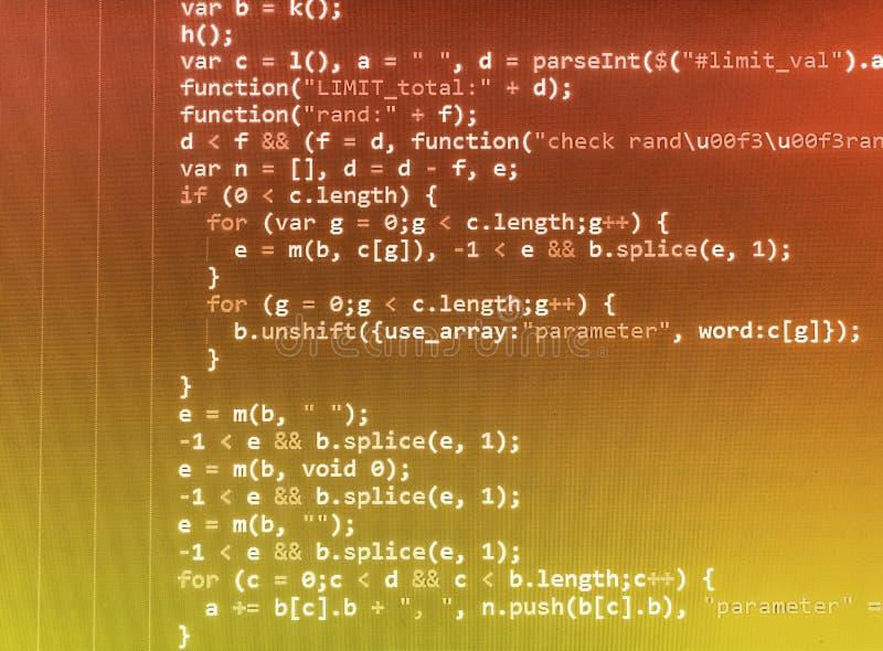 Programmera kodifiera skärmen för källkod arkivfoto