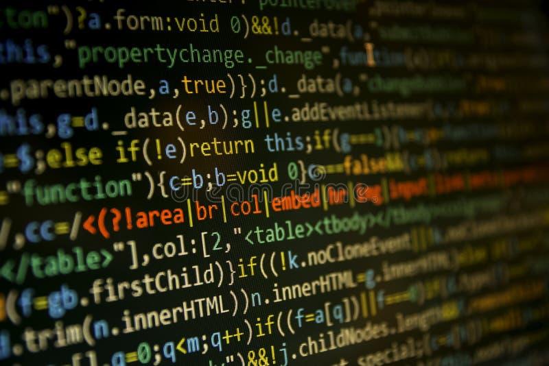 Programmera kodskärmen av programvarubärare Dator arkivfoton