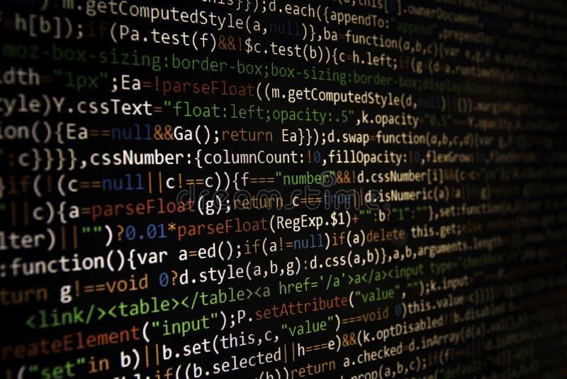 Programmera kodskärmen av programvarubärare Dator royaltyfria foton