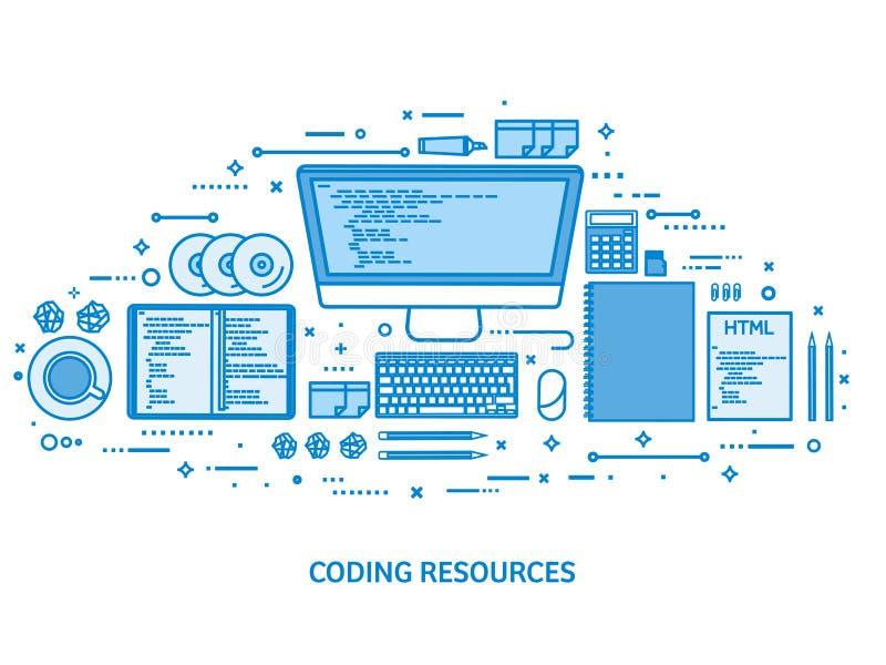 Programmera och att kodifiera och SEO Rengöringsdukutveckling runt om begreppsmässig motorbild för oklarhet letters nyckelordet o stock illustrationer