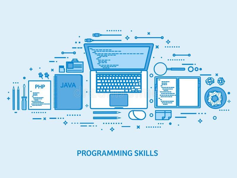 Programmera och att kodifiera och SEO Reng?ringsdukutveckling runt om begreppsm?ssig motorbild f?r oklarhet letters nyckelordet o royaltyfri illustrationer