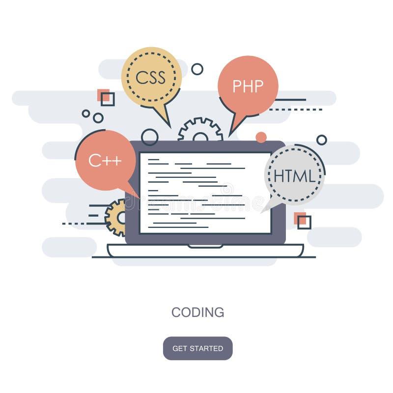 Programmera och kodifiera begrepp Symbol för applikationutveckling för websites Programvaru- och programkodbegrepp Plan vektor royaltyfri illustrationer
