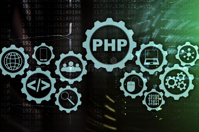 Programmera språk för PHP Framkallande programmera och kodifiera teknologier Cyberutrymmebegrepp stock illustrationer