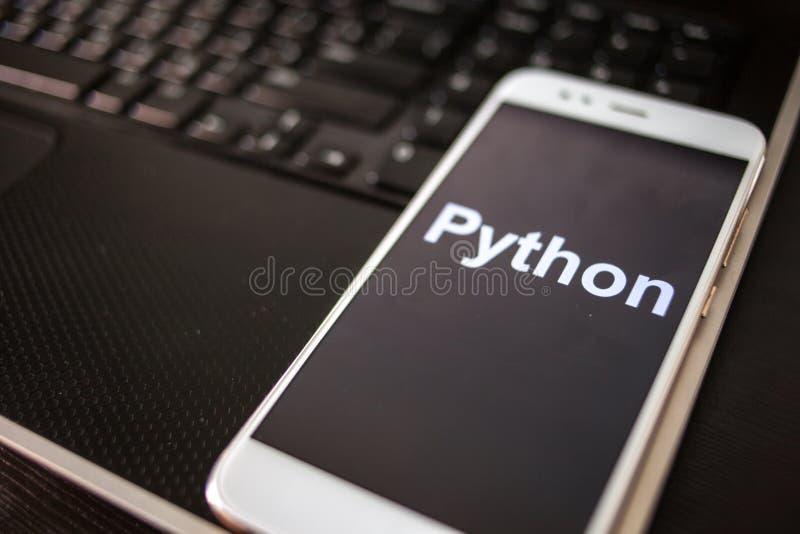 Programmera språk för pytonorm för mobil utveckling, begrepp Smartphone arkivfoto