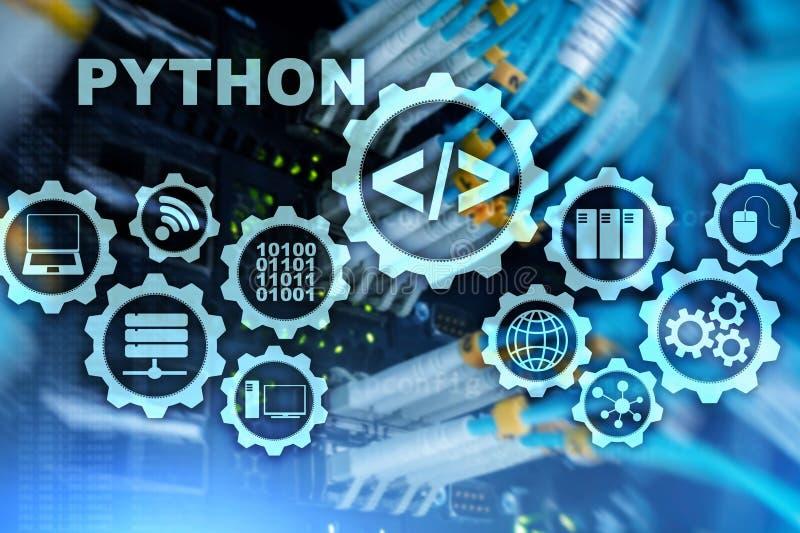 Programmera språk för pytonorm på serverrumbakgrund Programmera abstrakt algoritmbegrepp för workflow på den faktiska skärmen stock illustrationer