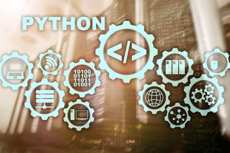 Programmera språk för pytonorm på serverrumbakgrund Programmera abstrakt algoritmbegrepp för workflow på den faktiska skärmen royaltyfri illustrationer