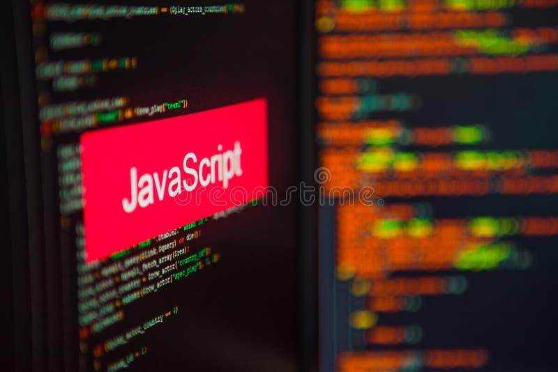 Programmera språk, JavaScriptinskrift på bakgrunden av datorkoden royaltyfria foton