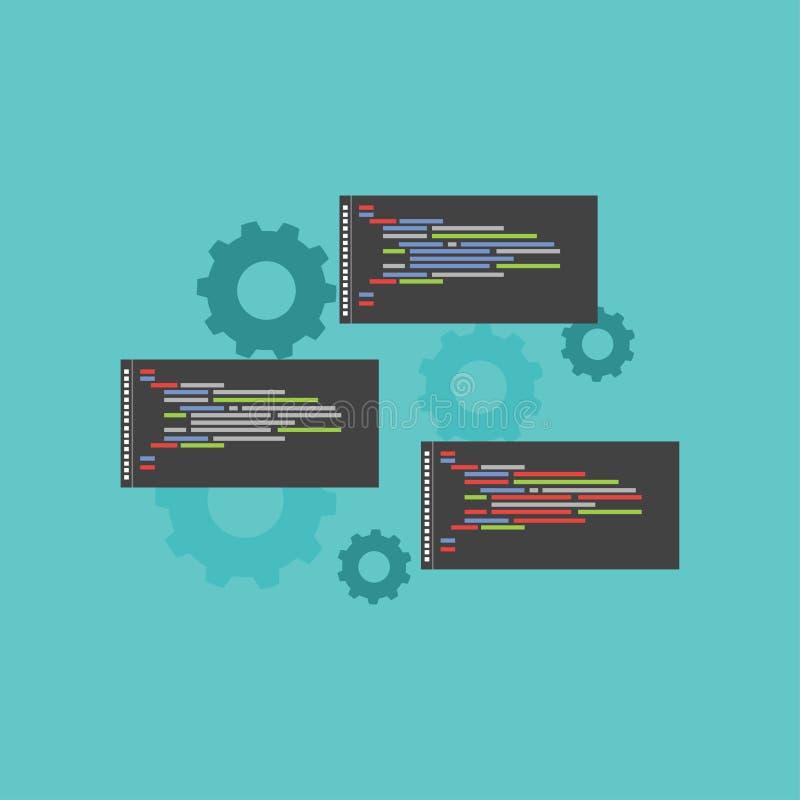 Programmera språkskriften Kodskrift Informationssystem royaltyfri illustrationer
