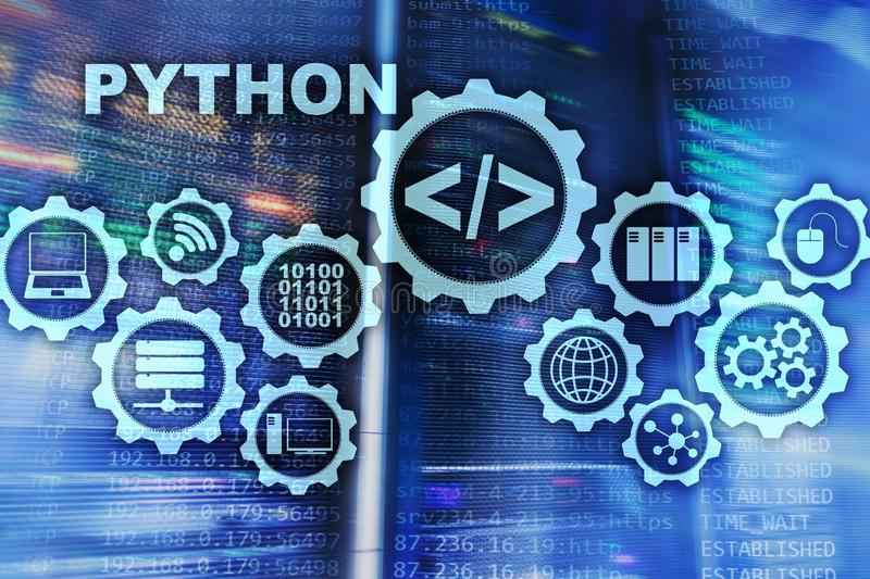 Programmera spr?k f?r pytonorm p? serverrumbakgrund Programmera abstrakt algoritmbegrepp f?r workflow p? den faktiska sk?rmen royaltyfri illustrationer