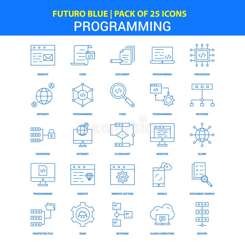 Programmera symboler - packe Futuro blå för 25 symbol royaltyfri illustrationer