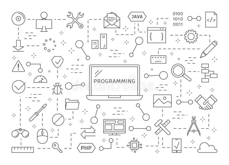 Programmera symbolsuppsättningen stock illustrationer