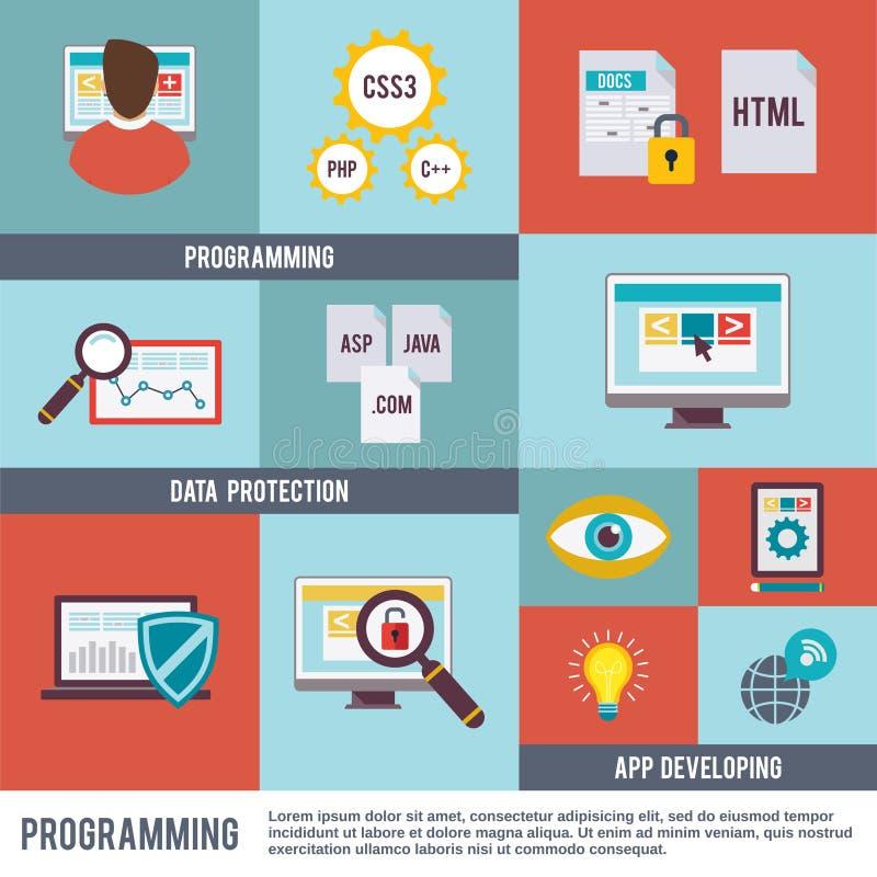 Programmerare Icon Flat Set stock illustrationer