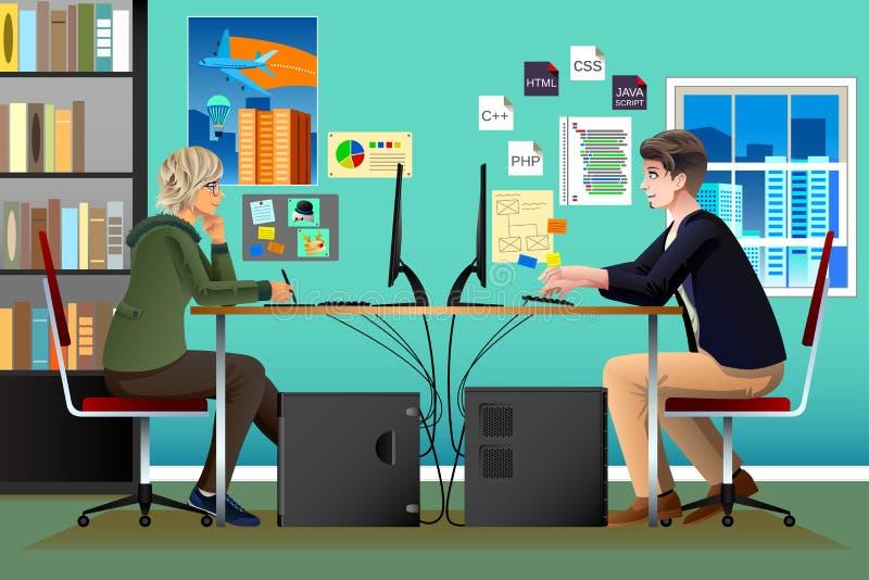 Programmerare och formgivare Working i ett kontor stock illustrationer