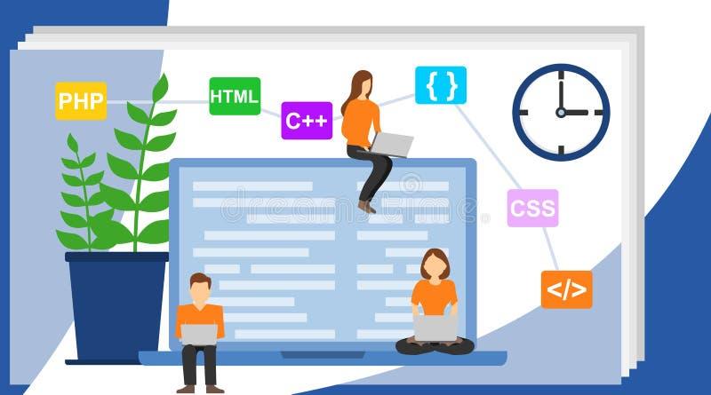 Programmerare- och teknikutvecklingsillustration Programmerare på arbetsbegreppet kan använda för rengöringsdukbaner vektor illustrationer