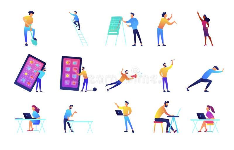 Programmerare och uppsättning för karriärvektorillustrationer royaltyfri illustrationer