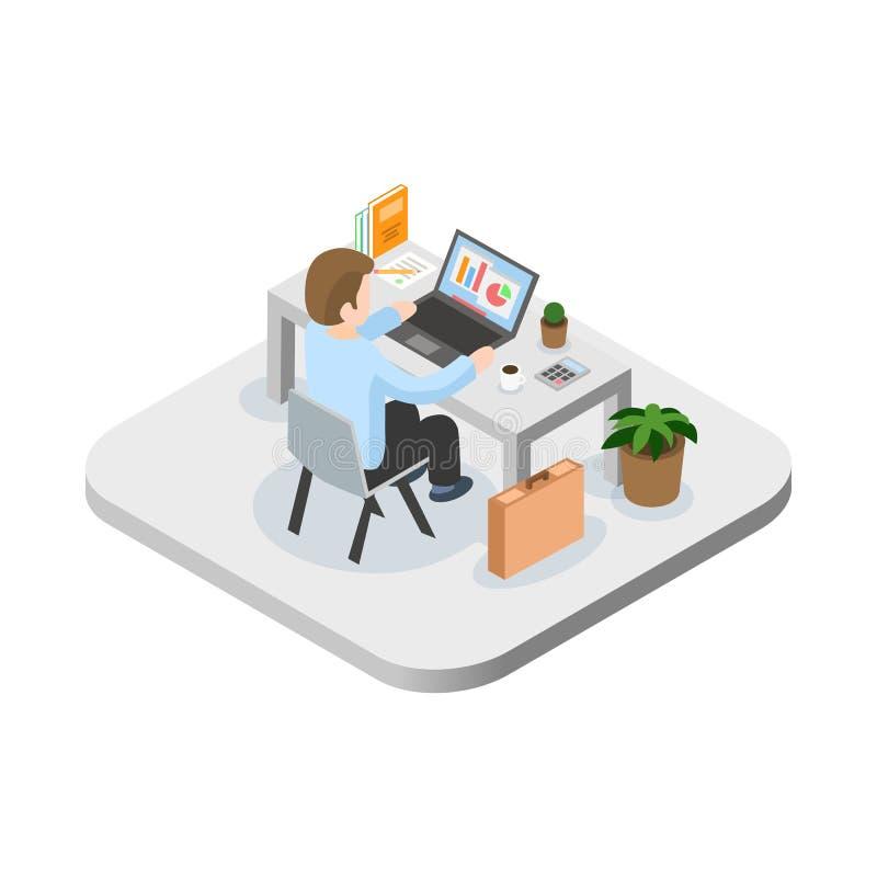Programmerare på arbetsbegreppet Kan använda för rengöringsdukbanret, infographicsen, hjältebilder Plan isometrisk vektorillustra stock illustrationer